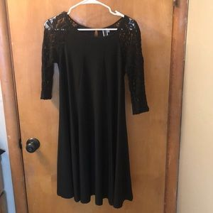 Black 3/4 Lace Sleeve Dress Size 6